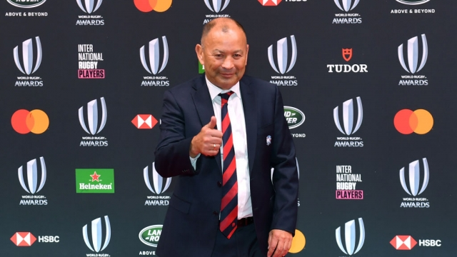 England head coach Eddie Jones poses for the media as he arrives for the World Rugby Awards 2019 on 3 November 2019 (AFP via Getty Images)