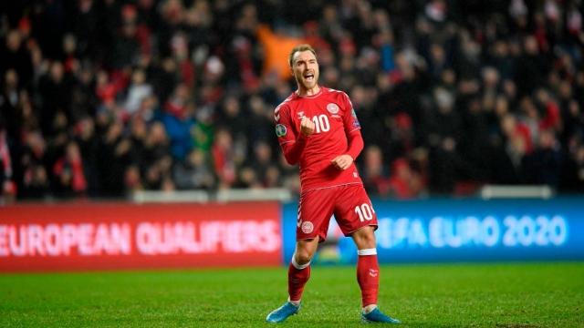 Denmark's midfielder Christian Eriksen celebrates scoring against Gibraltar on 15 November 2019 (AFP via Getty Images)