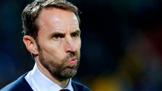 England's head coach Gareth Southgate in Prishtina on 17 November 2019 (AFP via Getty Images)
