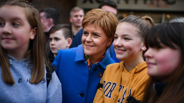 Nicola Sturgeon campaigns with SNP candidate for East Dunbartonshire, Amy Callaghan, and young activists on 9 November 2019 (Getty Images)