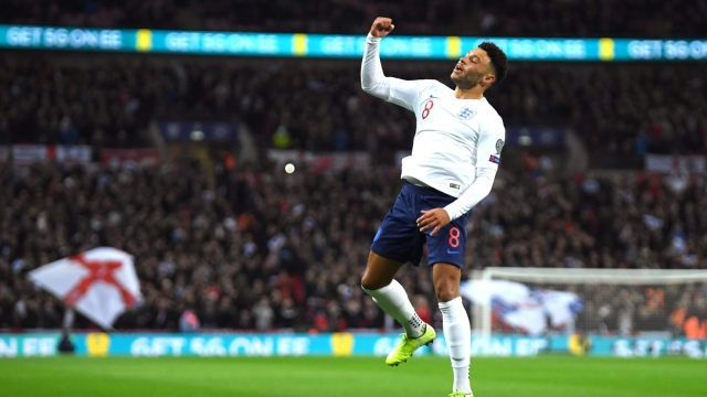 Alex Oxlade-Chamberlain jumping for joy after opening the scoring in England's 7-0 Euro 2020 qualifier victory against Montenegro (Getty Images)