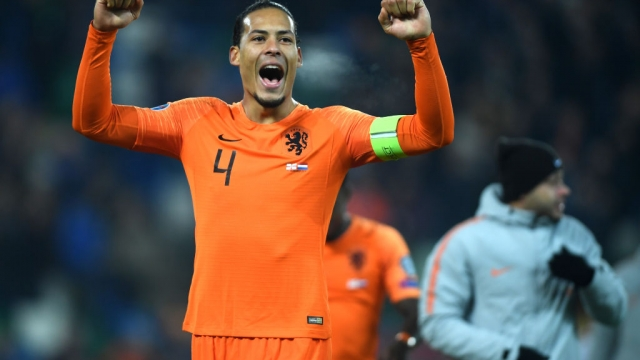 Virgil van Dijk of Netherlands celebrates after drawing with Northern Ireland on 16 November 2019 (Getty Images)