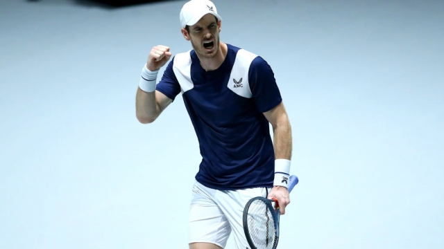 Andy Murray of Great Britain celebrates during his Davis Cup Group Stage match against Tallon Griekspoor of the Netherlands (Getty Images for LTA)