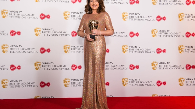 Jane McDonald with the Features award for 'Cruising With Jane McDonald', poses in the press room at the Virgin TV British Academy Television Awards at The Royal Festival Hall