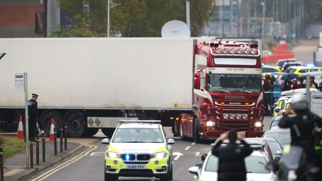 Article thumbnail: The victims were allegedly found dead inside a container lorry in an Essex (Photo: Aaron Chown/PA Wire)