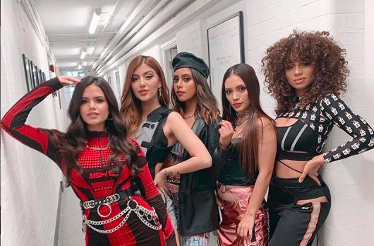 V5, backstage at The X Factor: Celebrity
