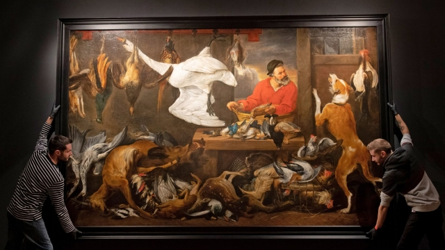 Gallery technicians adjust Frans Snyders' workshop copy of The Fowl Market in a new exhibition at the Fitzwilliam Museum in Cambridge