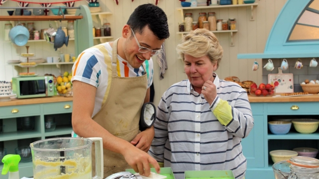 Michael with Sandi Toksvig in The Great British Bake Off tent (Photo: Channel 4)