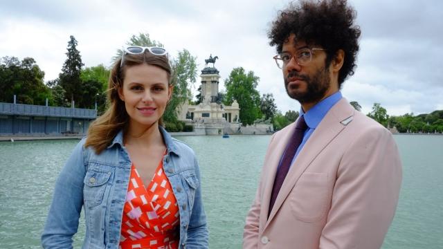 Richard Ayoade and Ellie Taylor in El Retiro park, Madrid (Photo: Channel 4)