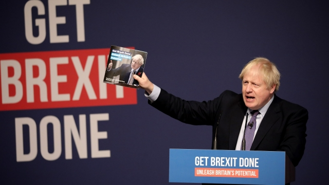 Prime Minister Boris Johnson delivers a speech at the launch of his party's manifesto at Telford International Centre on November 24, 2019 in Telford