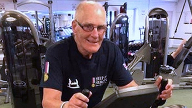 84-year-old Eric Ayling training on a stationary bike (Photo: Family handout/PA)