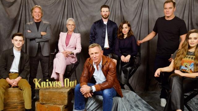 Knives Out: Actors Jaeden Martell, Don Johnson, Jamie Lee Curtis, Daniel Craig, Chris Evans, Ana de Armas, Michael Shannon and Katherine Langford