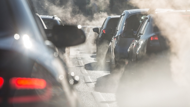 Close-up cars, pollution