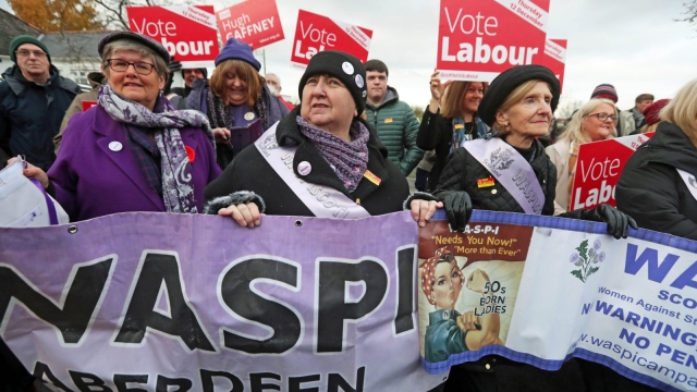 Waspi campaigners joined voters in South Lanarkshire during Jeremy Corbyn's election campaigning