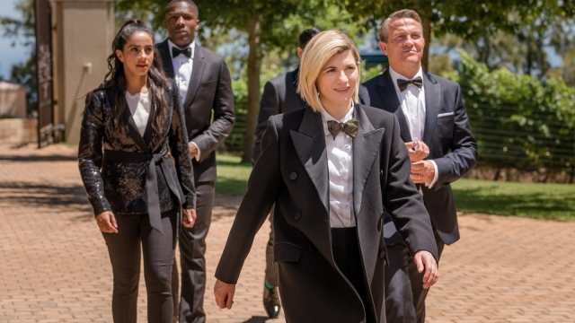 Yaz (MANDIP GILL), Ryan (TOSIN COLE), The Doctor (JODIE WHITTAKER), Graham (BRADLEY WALSH) on Doctor Who series 12