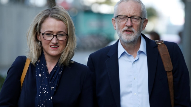 Shadow Business Secretary Rebecca Long-Bailey, who is pioneering the scheme, with Jeremy Corbyn
