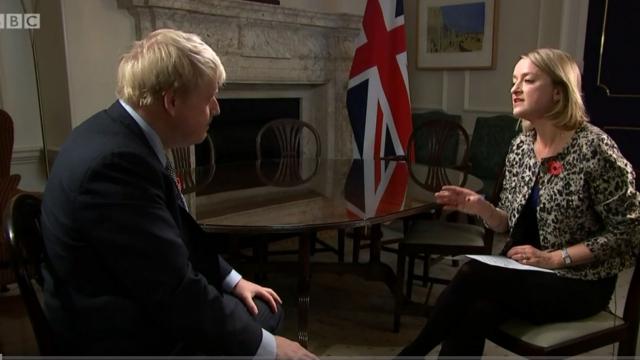 Article thumbnail: Laura Kuenssberg interviews Boris Johnson for The Brexit Storm Continues (Photo: BBC)