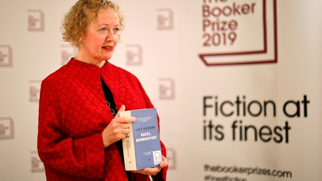 Novelist Lucy Ellmann with her book Ducks, Newburyport, published by Galley Beggar Press