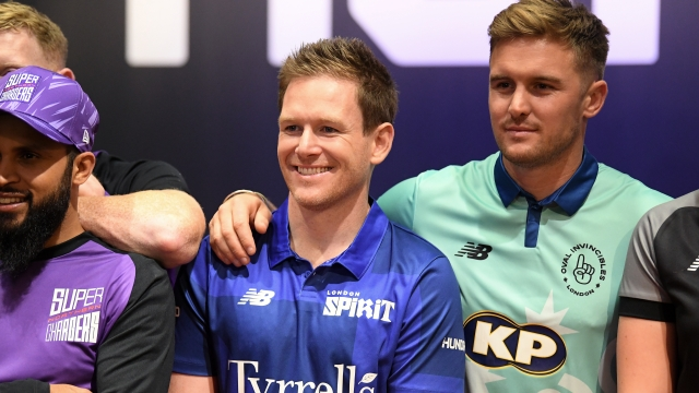 England stars Eoin Morgan and Jason Roy at the 100 draft earlier this year could hit the jackpot in the IPL