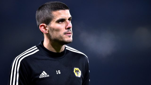 Conor Coady warming up for Wolves