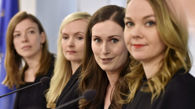 (From L) Minister of Education Li Andersson, Minister of Interior Maria Ohisalo, Prime Minister Sanna Marin, Minister of Finance Katri Kulmuni give a press conference of the new Finnish government in Helsinki,