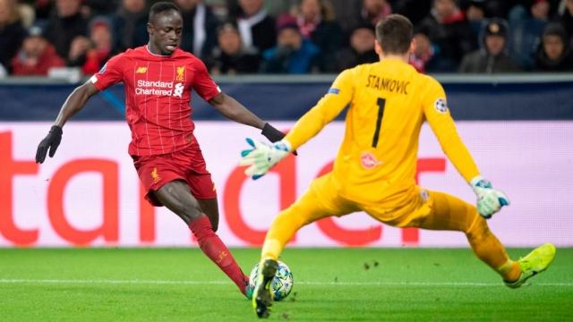 Liverpool's Senegalese forward Sadio Mane against RB Salzburg on 10 December 2019 (AFP via Getty Images)