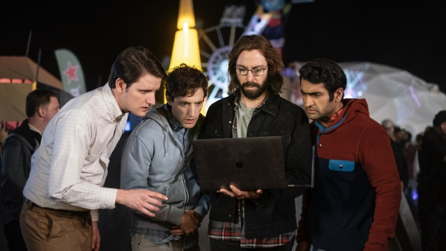 Zach Woods as Jared & Thomas Middleditch as Richard & Martin Starr as Gilfoyle & Kumail Nanjiani as Dinesh in Silicon Valley