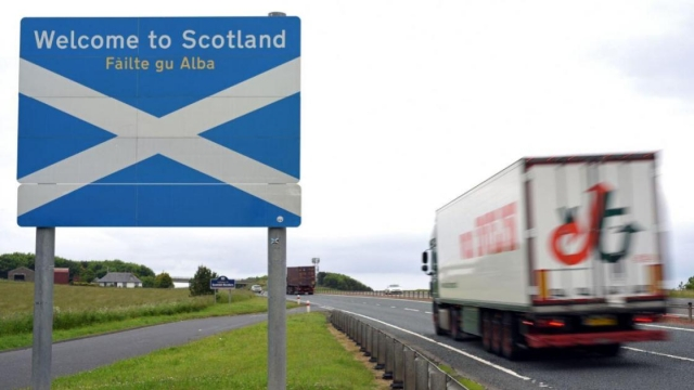 The Gaelic for 'Welcome to Scotland' is seen on signs when people enter the nation, but few Scots speak the language. Could a new online course change that? (Photo: OLI SCARFF/AFP/Getty Images)