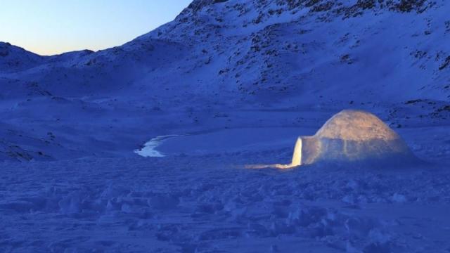 An igloo at sundown (Photo: Swan Films/Oskar Ström)