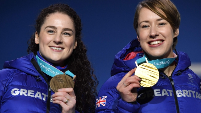 Laura Deas, left, now 31, made history in PyeongChang last year when she and Lizzy Yarnold, right, became the first British Winter Olympians to stand on a medal podium together