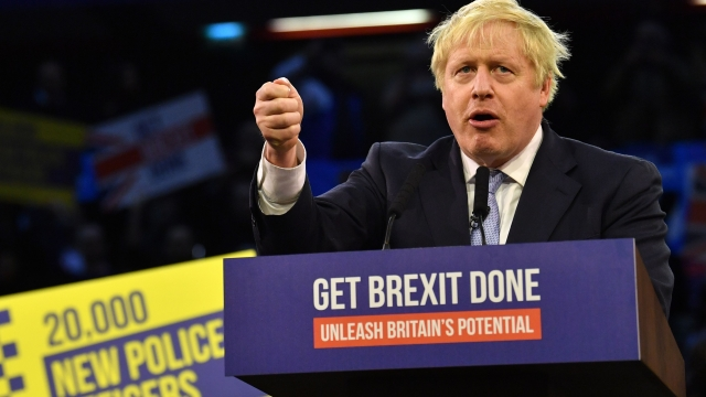 Boris Johnson Get Brexit Done sign