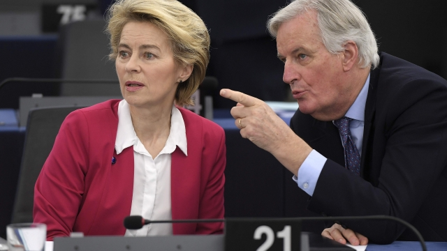 Michel Barnier, pictured with EU chief Ursula von der Leyen, highlighted that the EU's central interest in forging a free-trade agreement with Britain was to agree common social and environmental standards