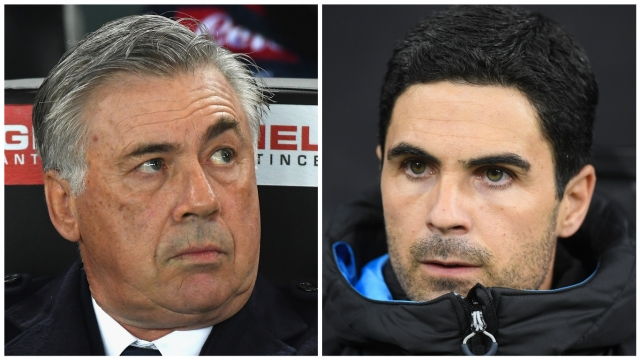 Carlo Ancelotti and Mikel Arteta could be in opposing dugouts as Everton take on Arsenal this weekend