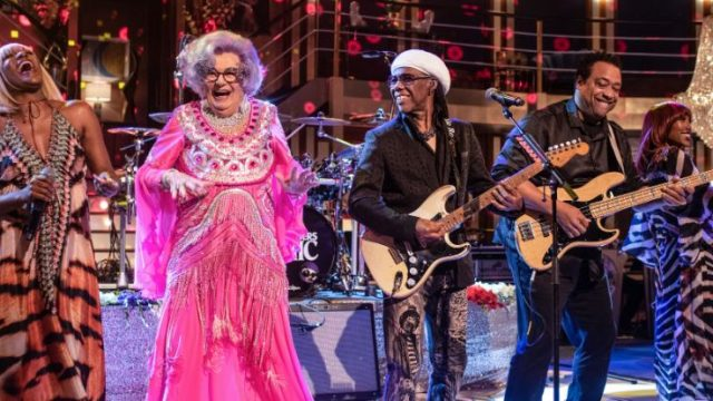 Dame Edna Everage with Nile Rogers and Chic on dame Edna Rules the Waves (Courtesy: BBC)