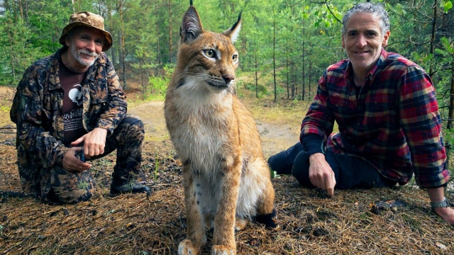 Gordon Buchanan (right) meets big-cats expert Dr Victor Lukarevsky who is helping abused lynx (Photo: BBC)