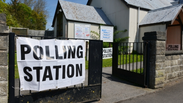 View of a polling station at a church