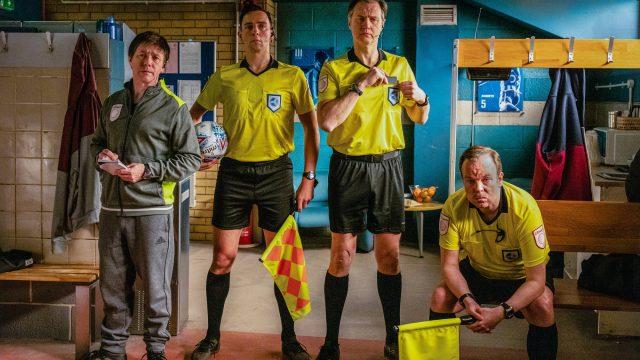 Reece Shearsmith, Ralf Little, David Morrissey and Steve Pemberton play football in tonight's Inside No 9