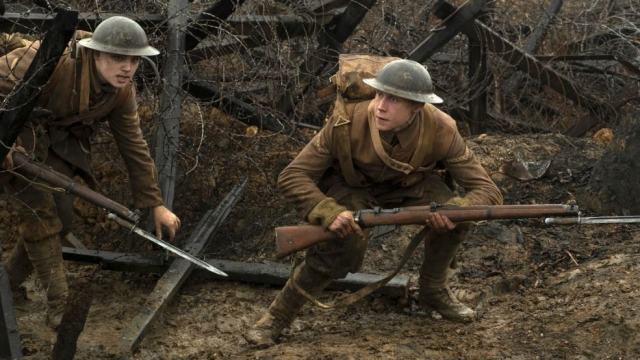 Dean-Charles Chapman, left, and George MacKay in a scene from 1917, directed by Sam Mendes (Photo: François Duhamel/Universal Pictures via AP)