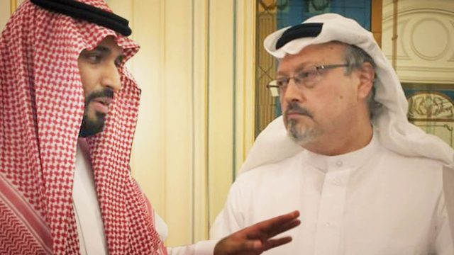 Saudi Arabia's Crown Prince, Mohammad bin Salman, left, has been blamed for ordering the murder of journalist Jamal Khashoggi by the CIA. The pair are seen here in a still from 'The Dissident' (Photo: AP)