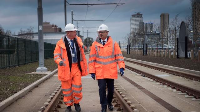 Sajid Javid visits the new Metrolink line in Trafford Park. (Photo: HM Treasury)