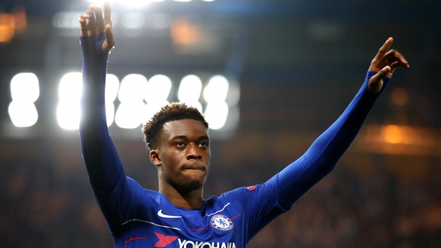 Callum Hudson-Odoi of Chelsea celebrates after he scores his sides third goal during the UEFA Europa League Round of 32 Second Leg match between Chelsea and Malmo