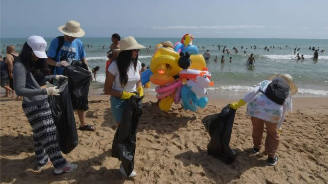 Article thumbnail: Every week volunteers collect discarded plastic from tourist beaches in Tunisia