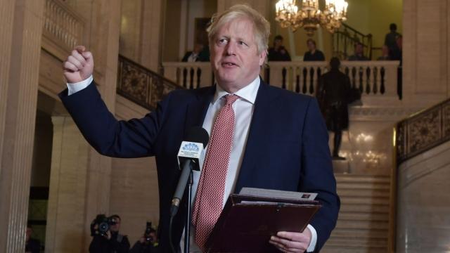 Boris Johnson speaking at Stormont