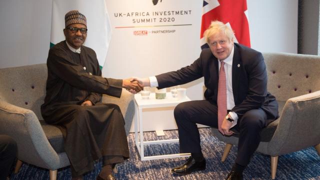 Boris Johnson with Nigeria's president Muhammadu Buhari