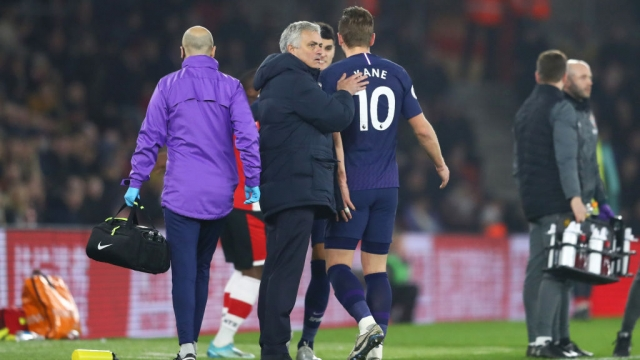 Jose Mourinho pats Harry Kane of Tottenham Hotspur on the back as he exits with an injury against Southampton - he is expected to spend a lengthy time on the sidelines with the injury (Getty Images)