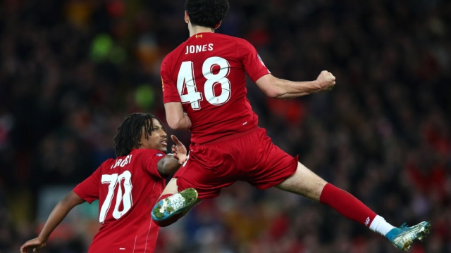 Curtis Jones of Liverpool celebrates his wonderstrike against Everton in the FA Cup (Getty Images)
