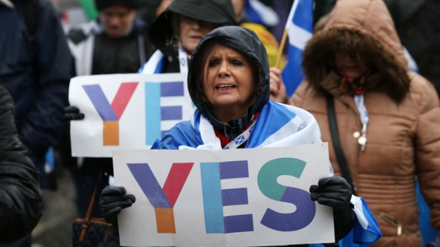 Tens of thousands of people marched for Scottish independence in Glasgow on Saturday (Photo: Getty)