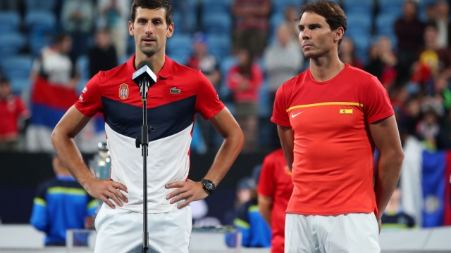 Novak Djokovic of Serbia and Rafael Nadal of Spain after the ATP Cup Final that Serbia won on 12 January 2020 (Getty Images)