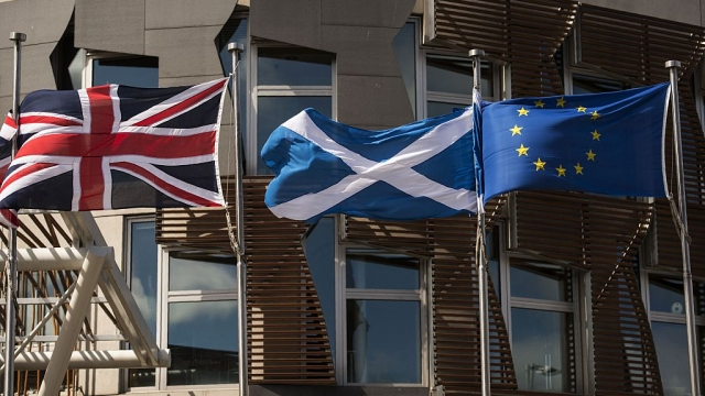The EU flag usually flies at Holyrood alongside the Saltire (Photo: Getty)