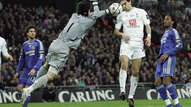 Tottenham Hotspur's Jonathan Woodgate scores in extra time during the Carling Cup Final match against Chelsea (AFP via Getty Images)